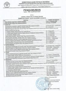 Kalender Akademik Online Genap 2018-2019